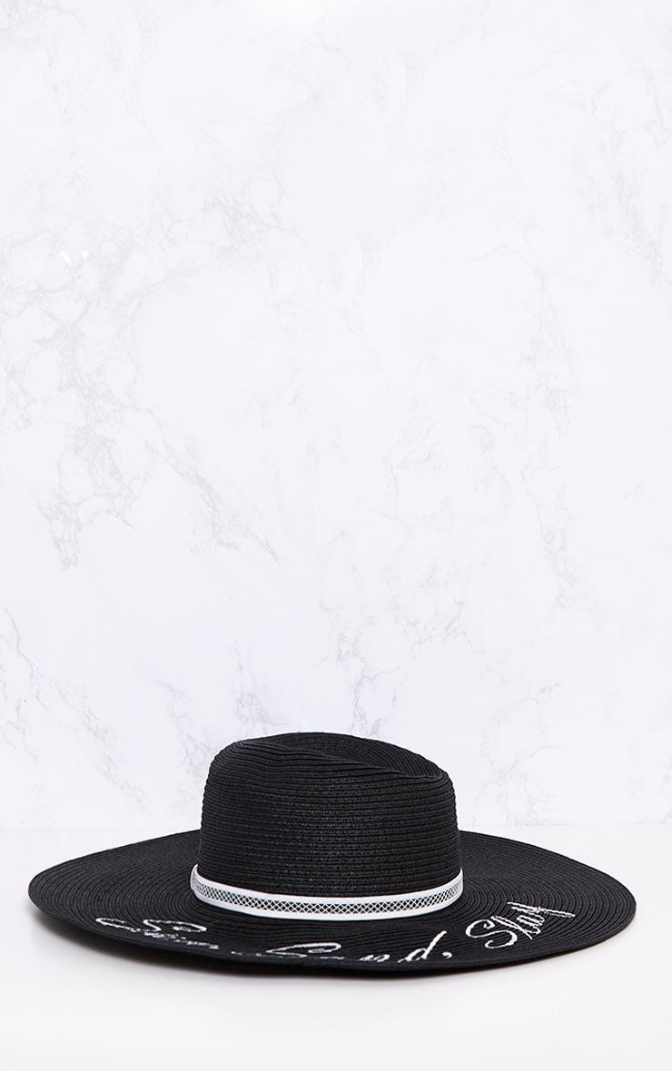 Black 'Sun, Sand, Slay' Straw Sun Hat 4