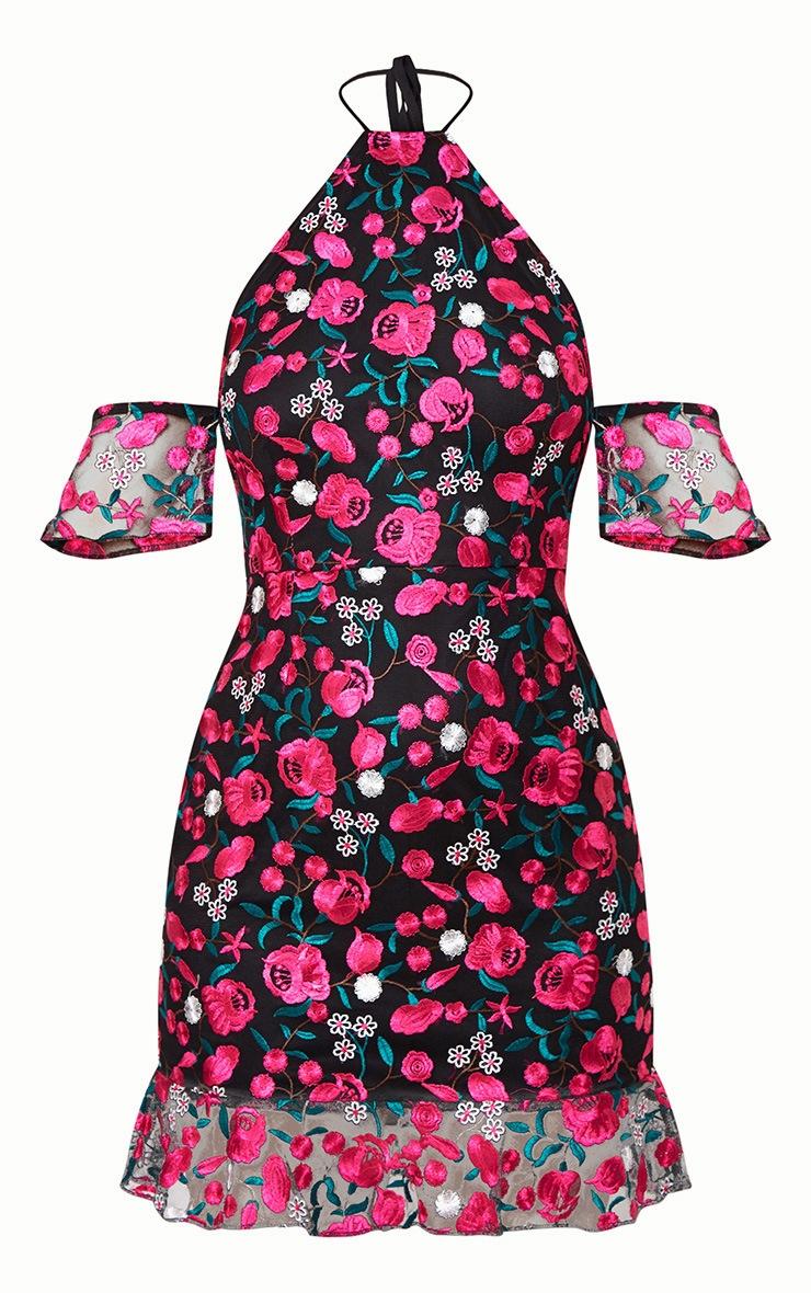 Hot Pink Embroidered Floral Cold Shoulder 3