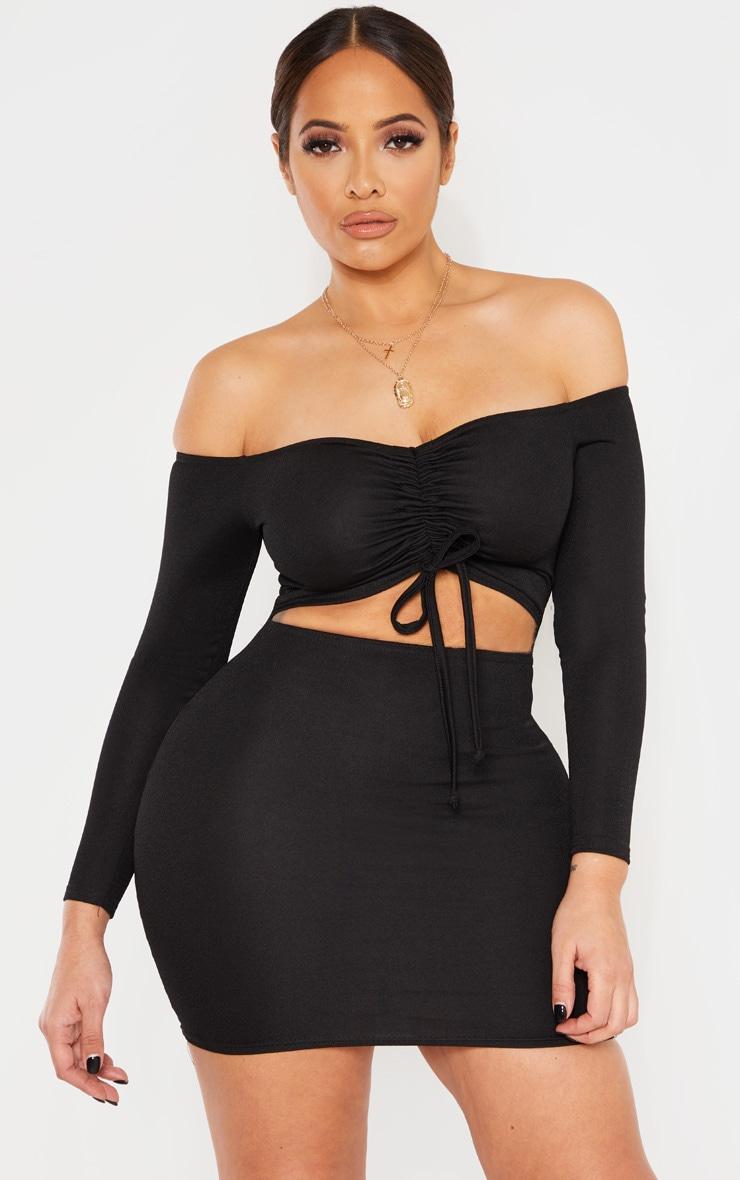 Shape Black Ruched Front Bardot Mini Dress 1
