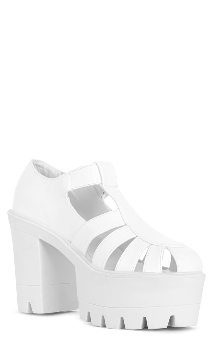 Jamiya White Leather Cut Out Heeled Sandals  2