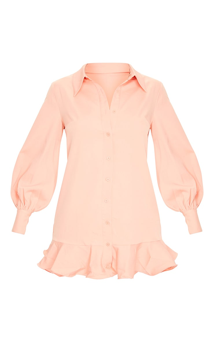Peach Frill Hem Shirt Dress 5