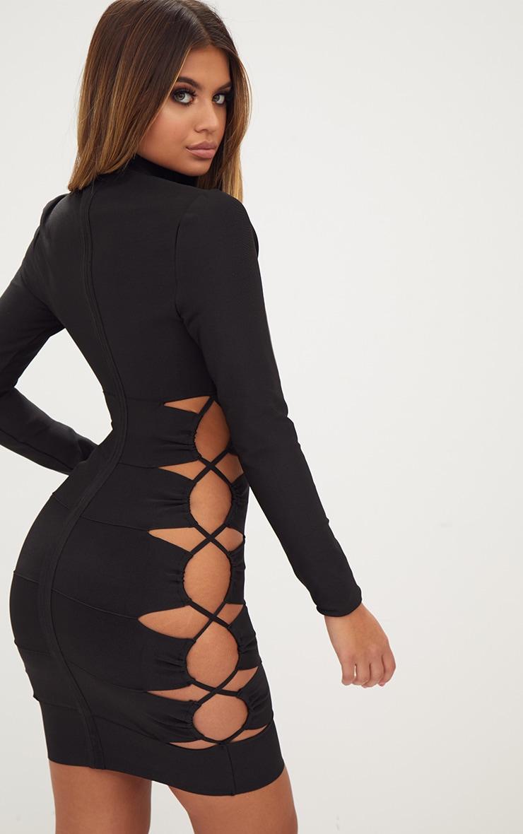 Black Bandage Lace Up High Neck Bodycon Dress 2