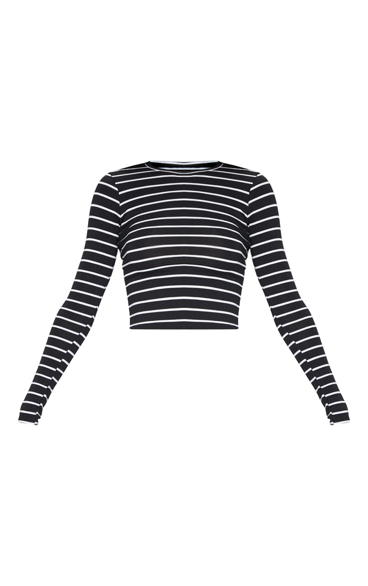 Mono Stripe Jersey Crew Neck Long Sleeve Top 3