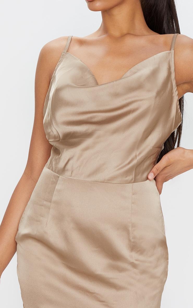 Gold Satin Cowl Neck Slip Dress 4