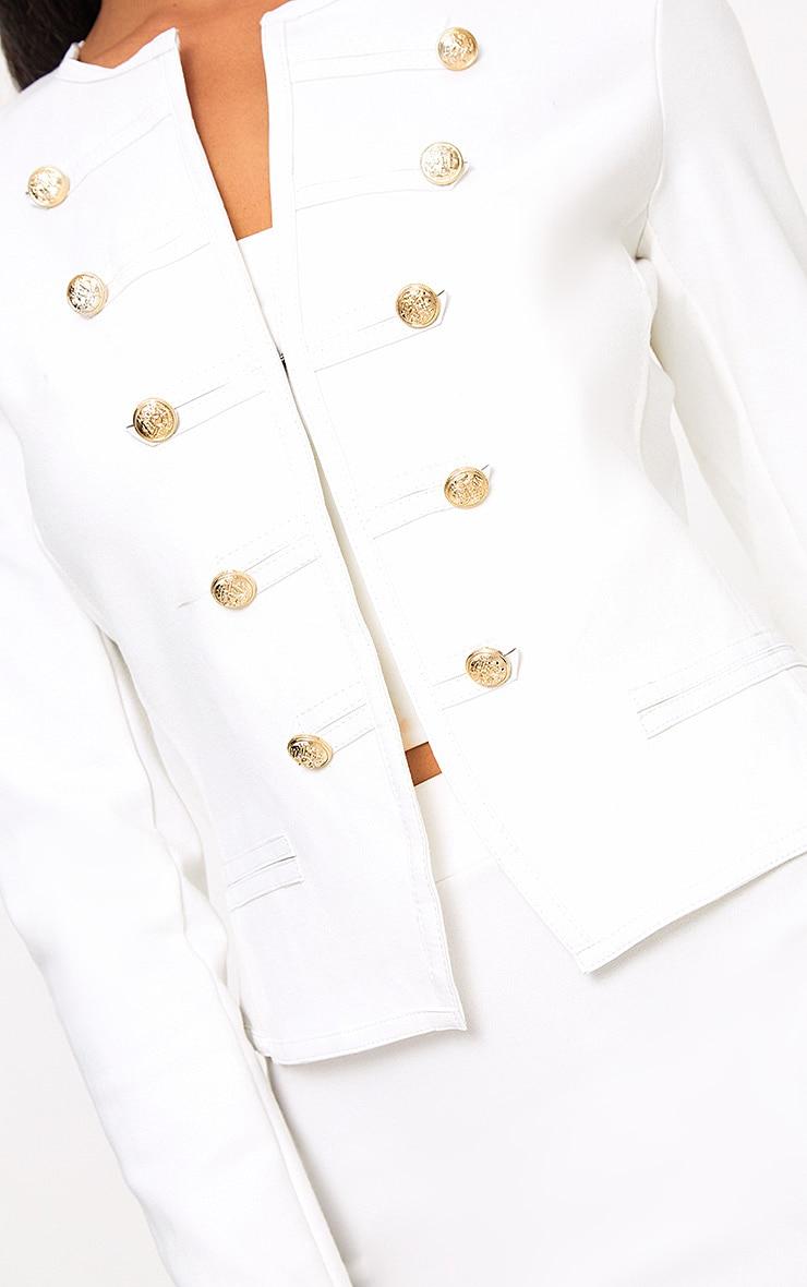 Aeldra White Cropped PU Trim Military Jacket 5