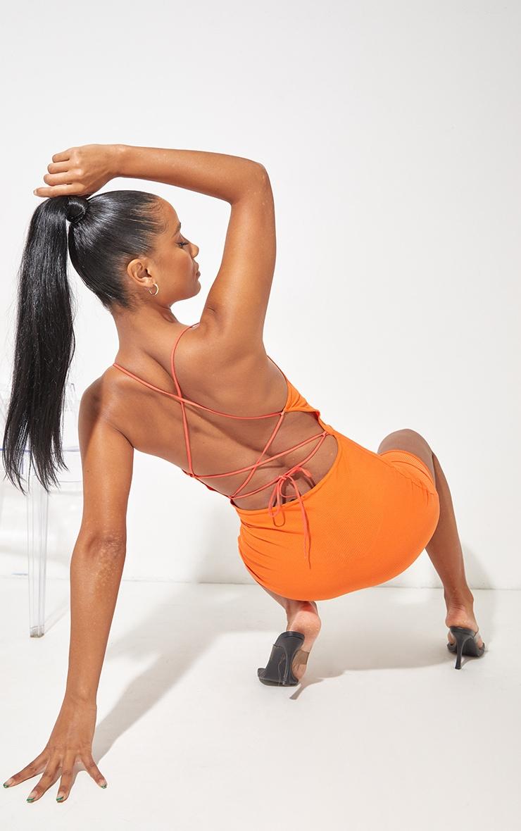 Orange Ribbed Lace Up Back Bodycon Dress 1