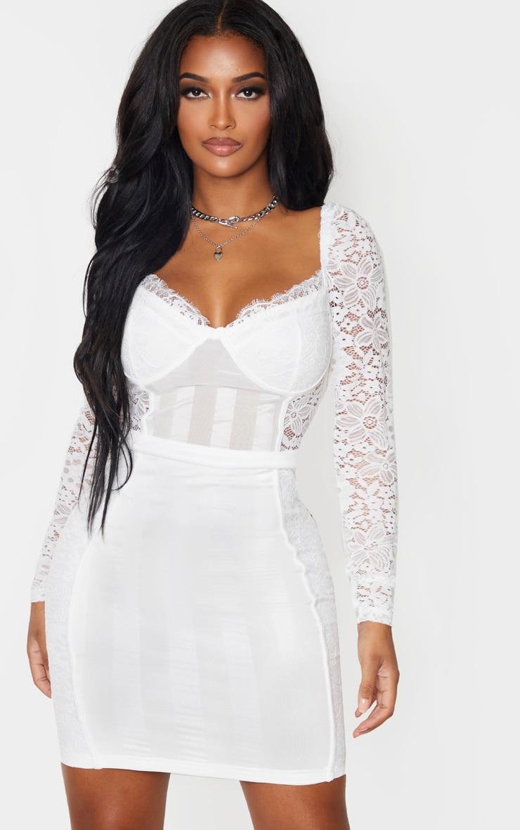 Shape White Lace Mesh Stripe Long Sleeve Bodycon Dress 1
