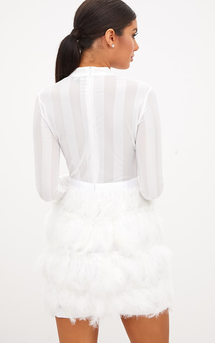 Fawn White Feather Skirt Bodycon Dress 2
