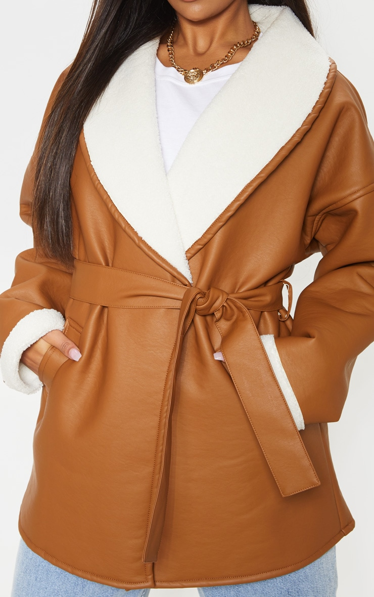 Tan Aviator PU Tie Waist Long Sleeve Jacket 5