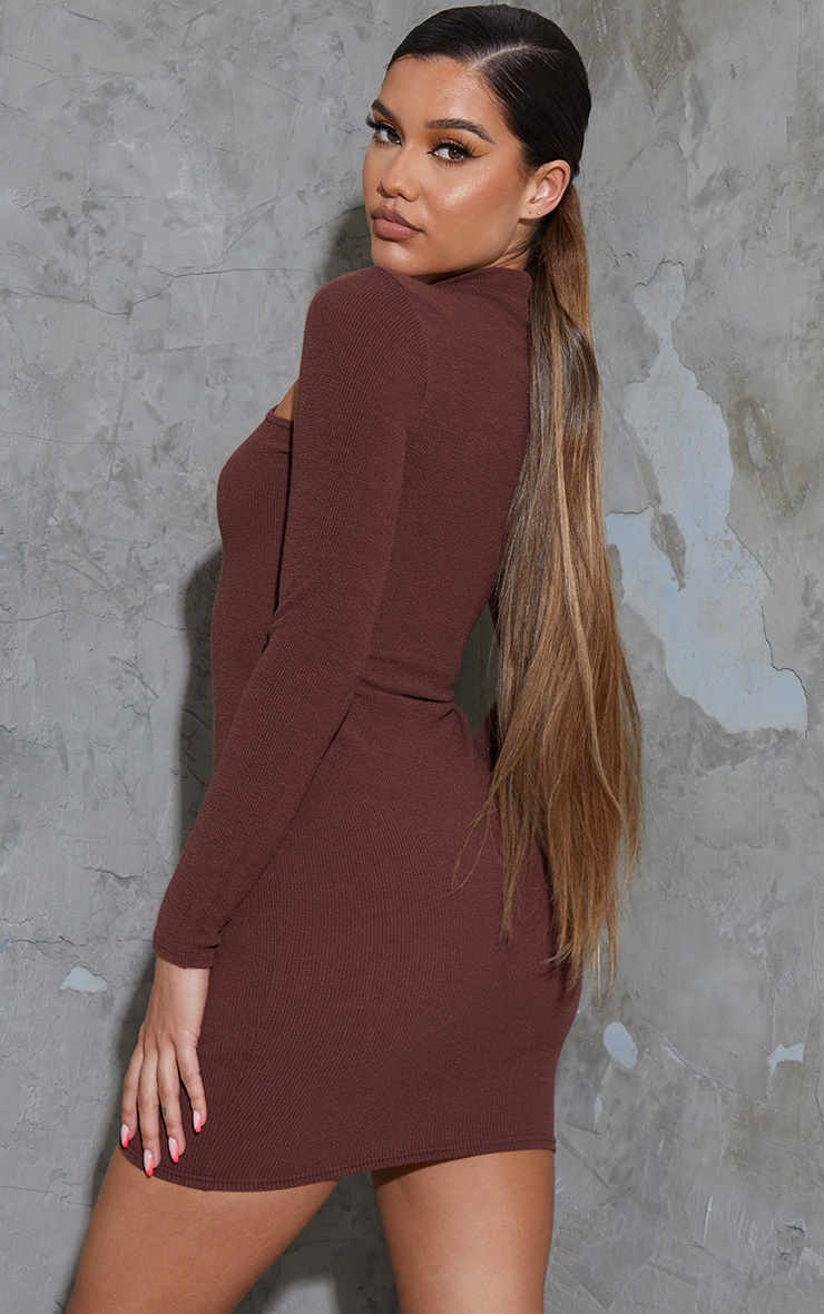 Chocolate Washed Rib Cut Out Chest Detail Long Sleeve Bodycon Dress 2
