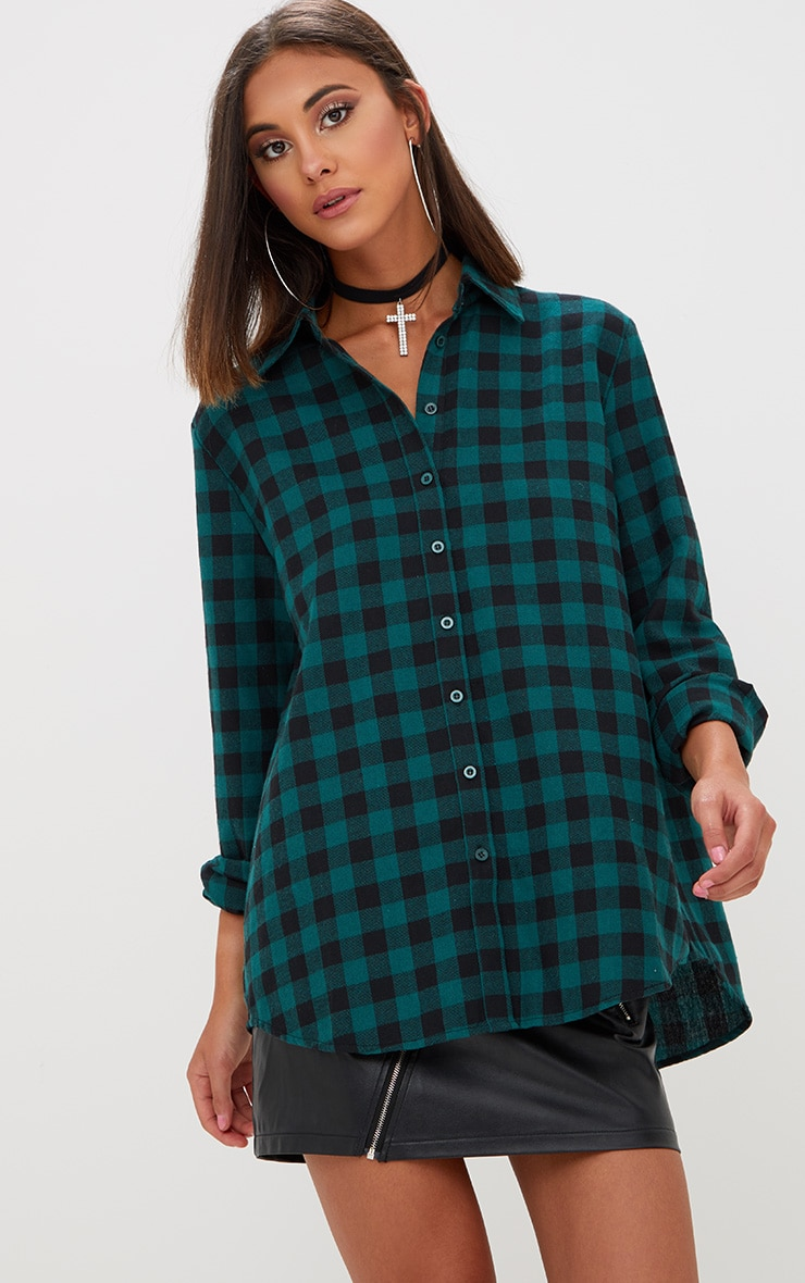 Green Oversized Checked Flannel Shirt  1