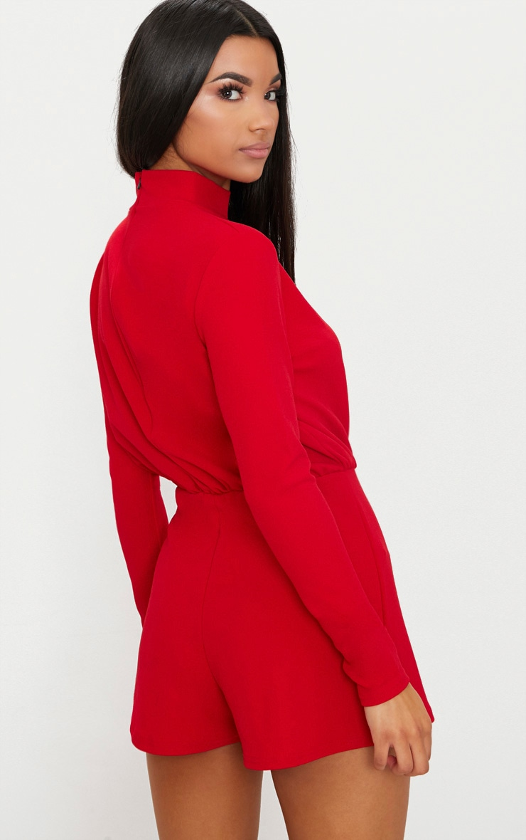 Red Keyhole Cut Out Playsuit 2