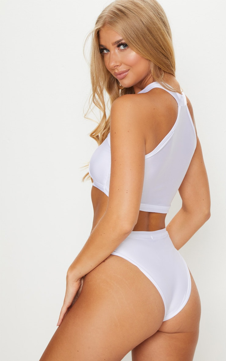 White Racer Neck Buckle Bikini Top 2