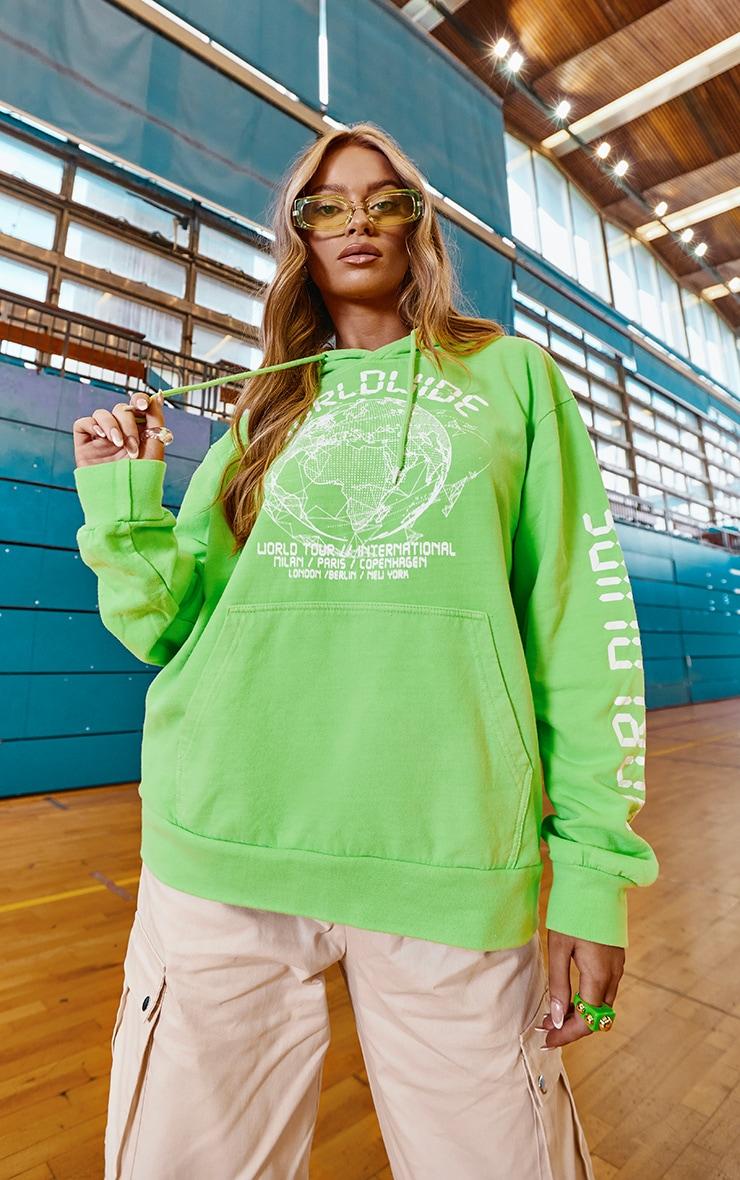 Lime Worldwide Slogan Oversized Hoodie