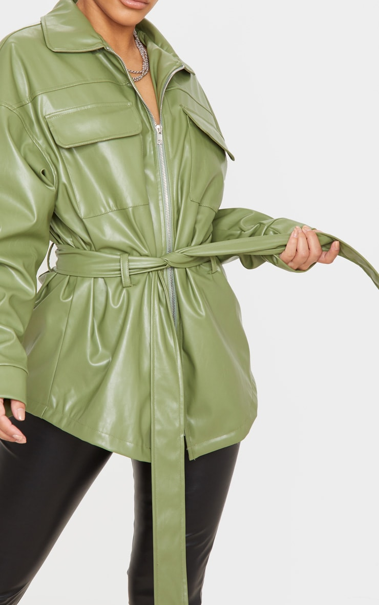 Petite Khaki Faux Leather Belt Detail Jacket 5