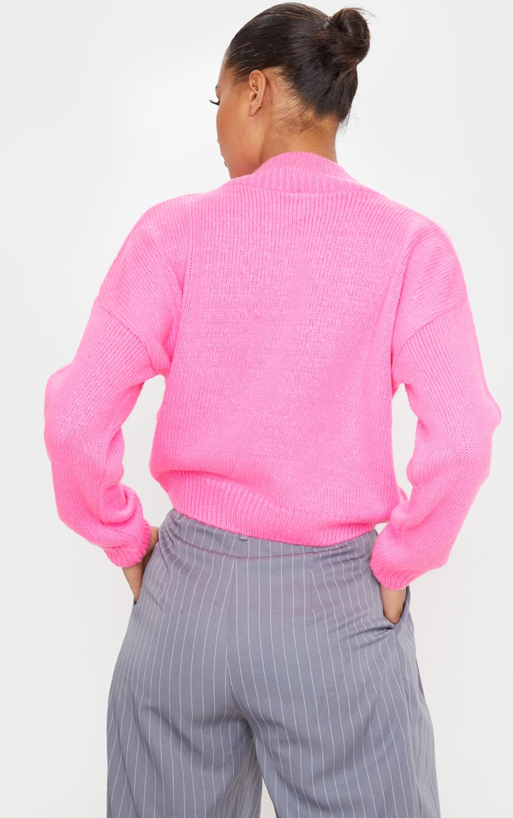 Hot Pink High Neck Fluffy Knit Cropped Sweater 2