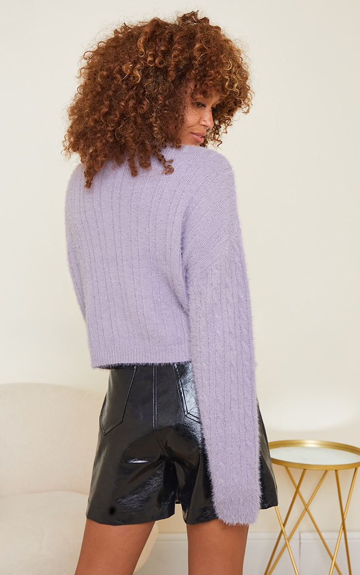 Lilac All Over Cable Crop Fluffy Sweater 2
