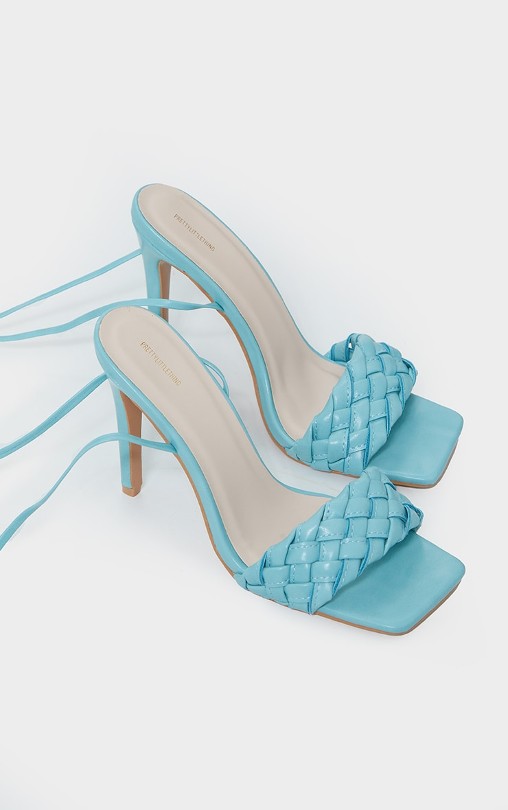 Blue Square Front Plated Lace Up High Heels 3