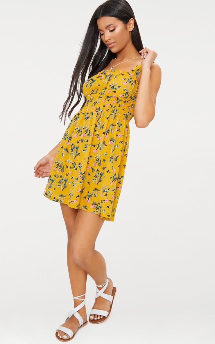 Mustard Floral Frill Detail Skater Dress 4