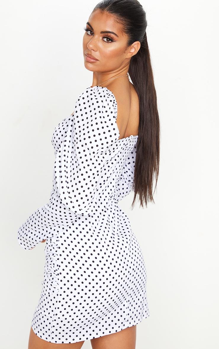 White Polka Dot Puff Sleeve Twist Detail Bodycon Dress 2