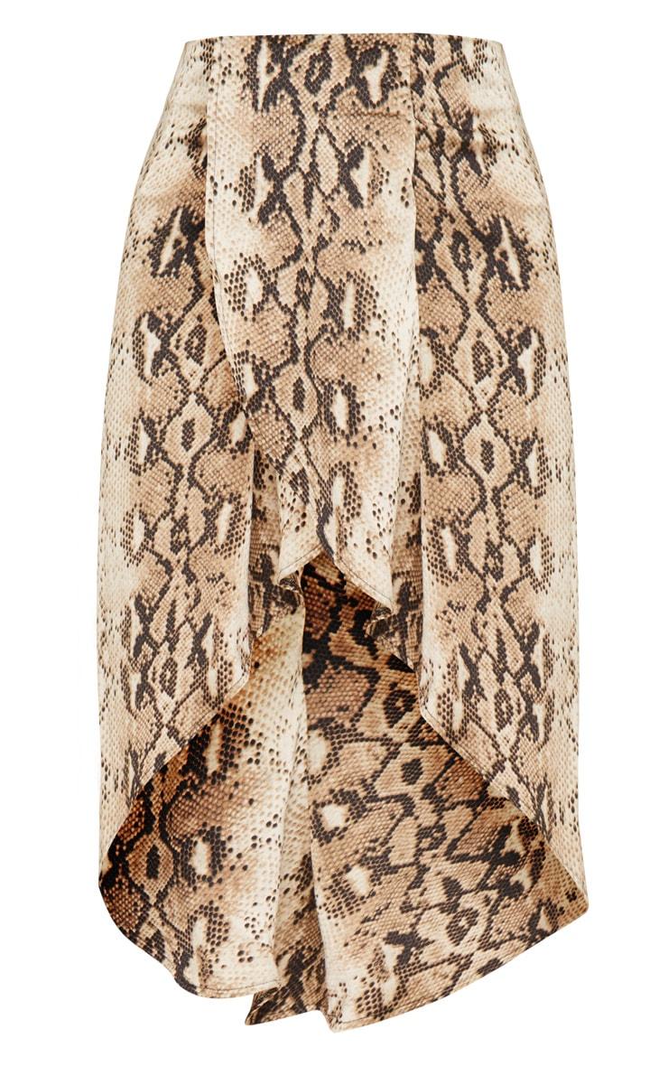 Snake Print Satin Asymmetric Skirt 3