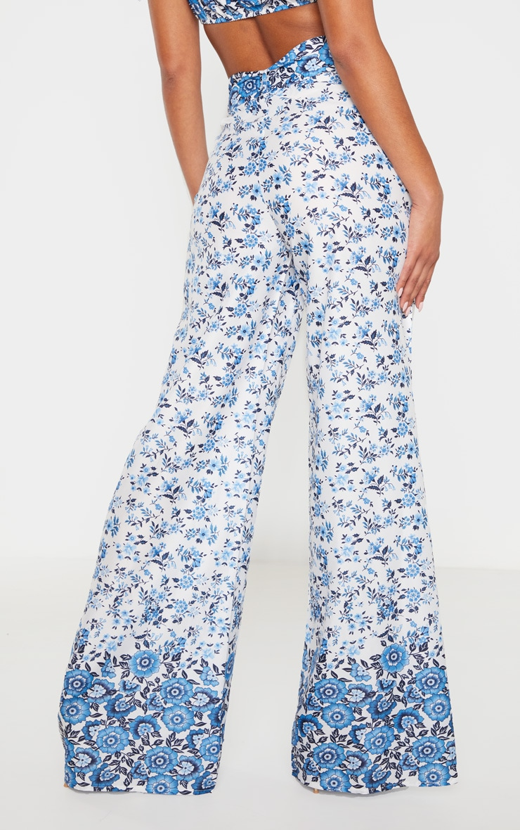 White Woven Paisley Print High Waisted Belted Wide Leg Pants 4