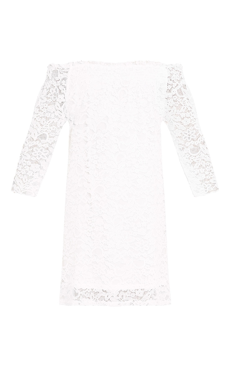 Cora White Lace Bardot Shift Dress 3