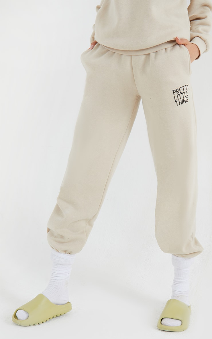 PRETTYLITTLETHING Sand Printed High Waisted Cuffed Joggers 2
