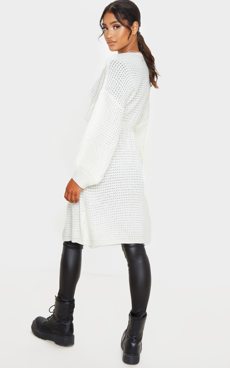 Cream Knitted Longline Belted Cardigan 2