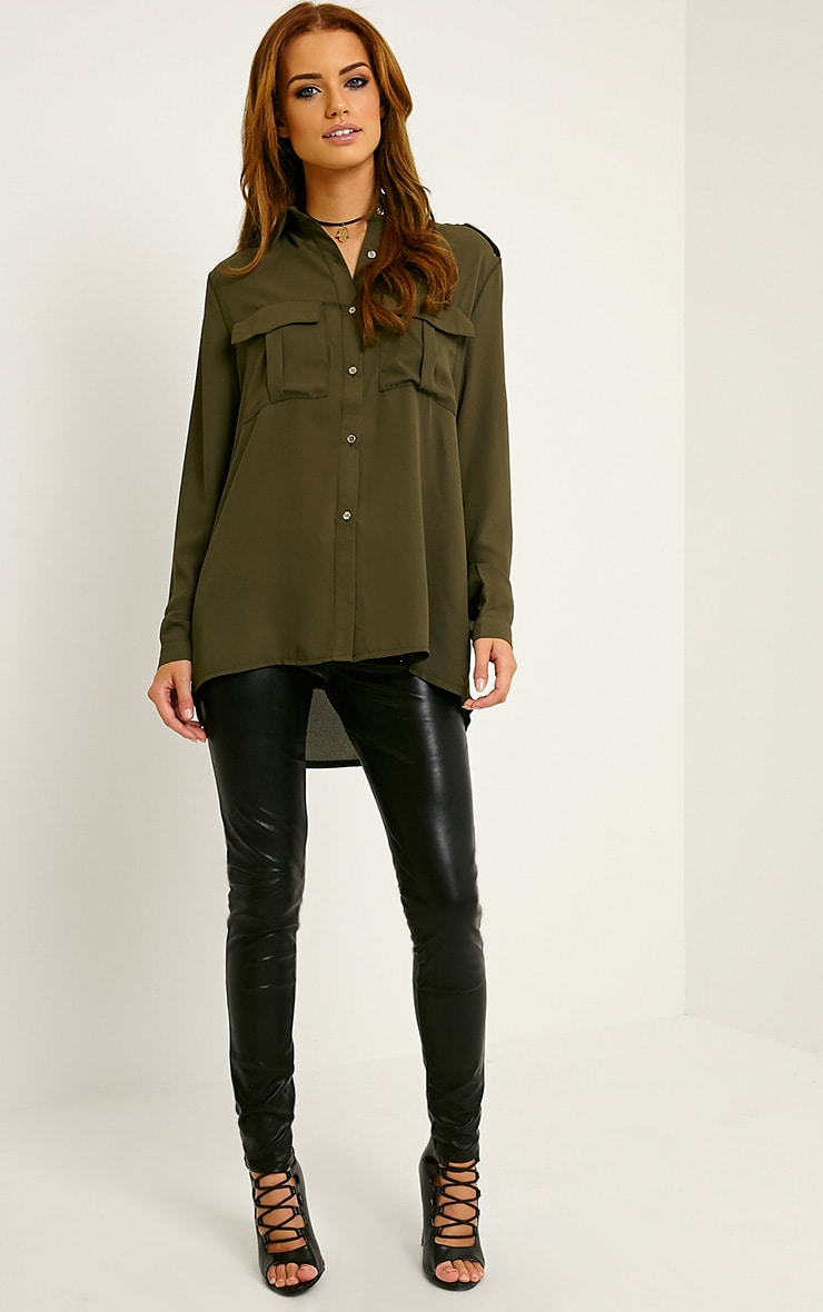 Bethan Khaki Utility Pocket Shirt 3