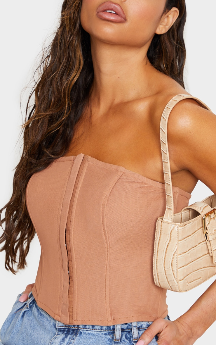 Nude Mesh Structured Lace Up Corset 5