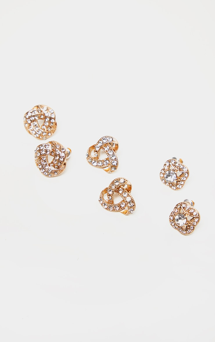 Gold Diamante Knotted Stud Earrings Multi Pack 1