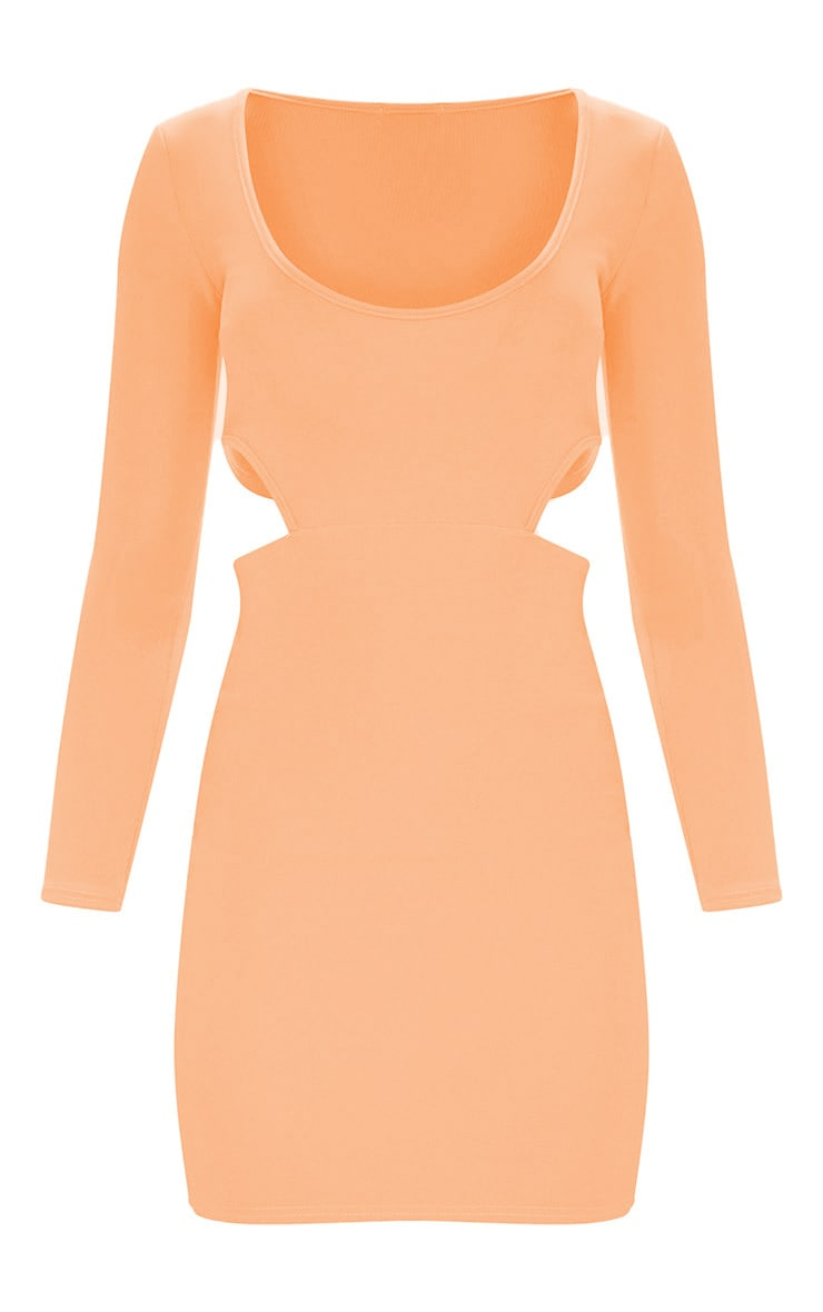 Peach Second Skin Scoop Neck Cut Out Side Bodycon Dress 3