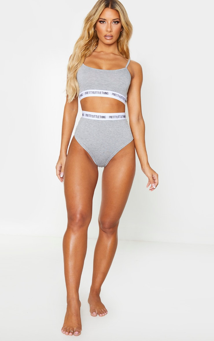 PRETTYLITTLETHING Grey High Waist Lingerie Set 4