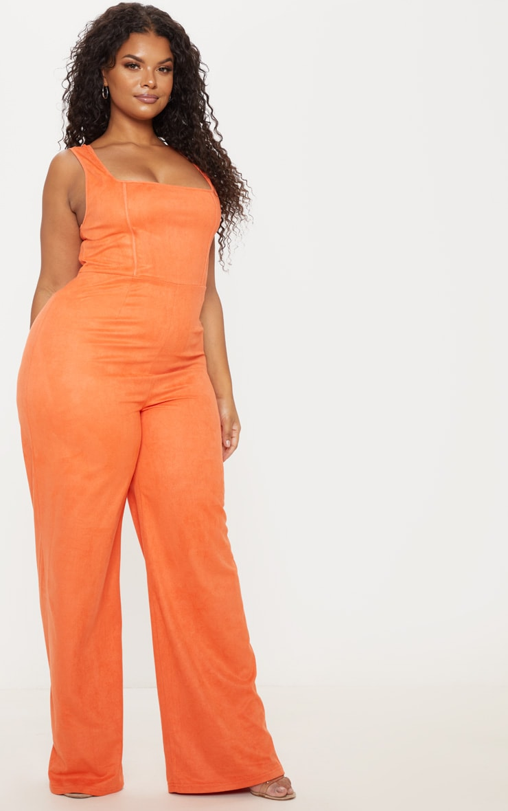 Plus Orange Faux Suede Square Neck Wide Leg Jumpsuit 4