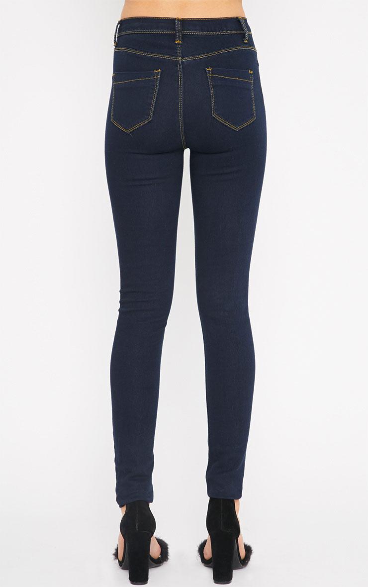 Lowri Dark Wash Rolled Up Skinny Jean  2