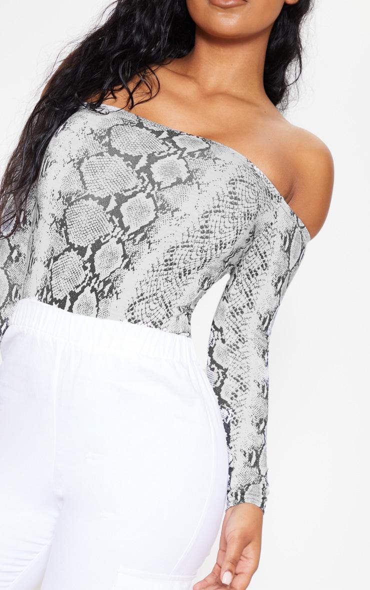 Grey Snake Print Bardot Thong Bodysuit 6