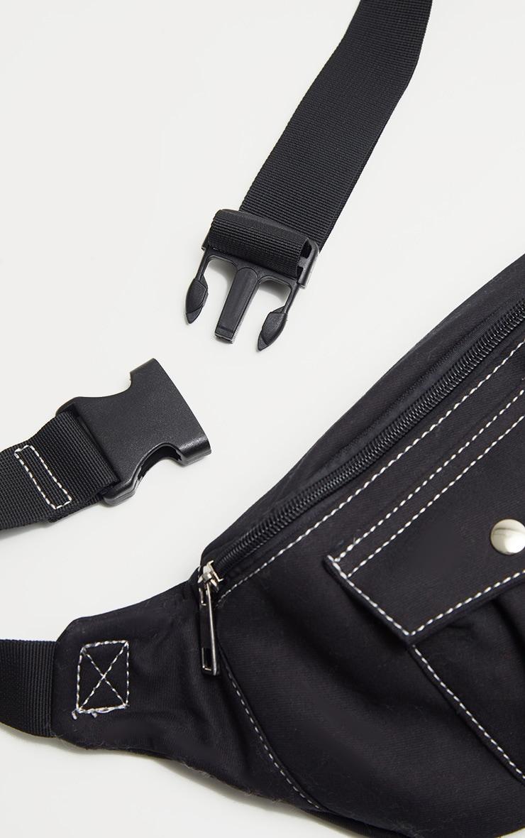 Black Contrast Stitching Bum Bag 3