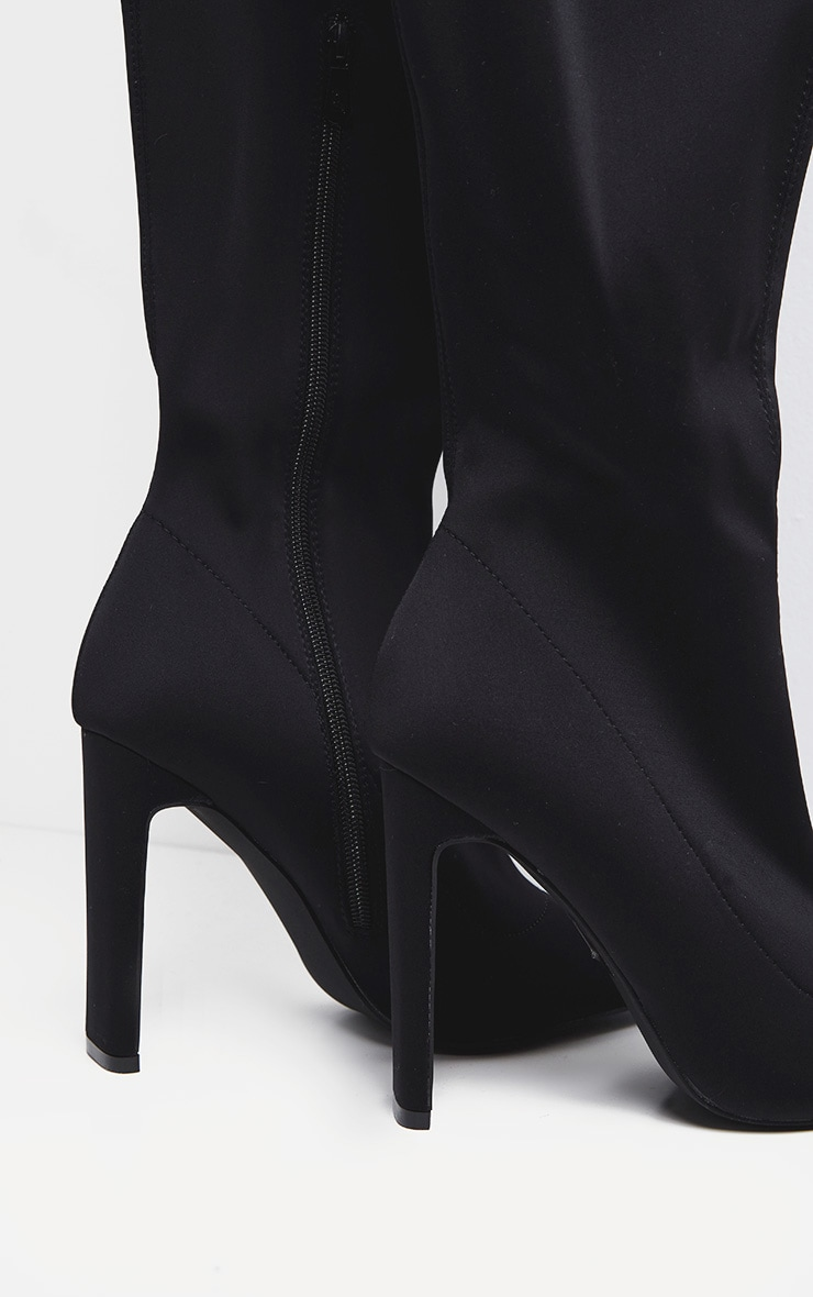 Black Over The Knee Flat Heel Sock Boot  4