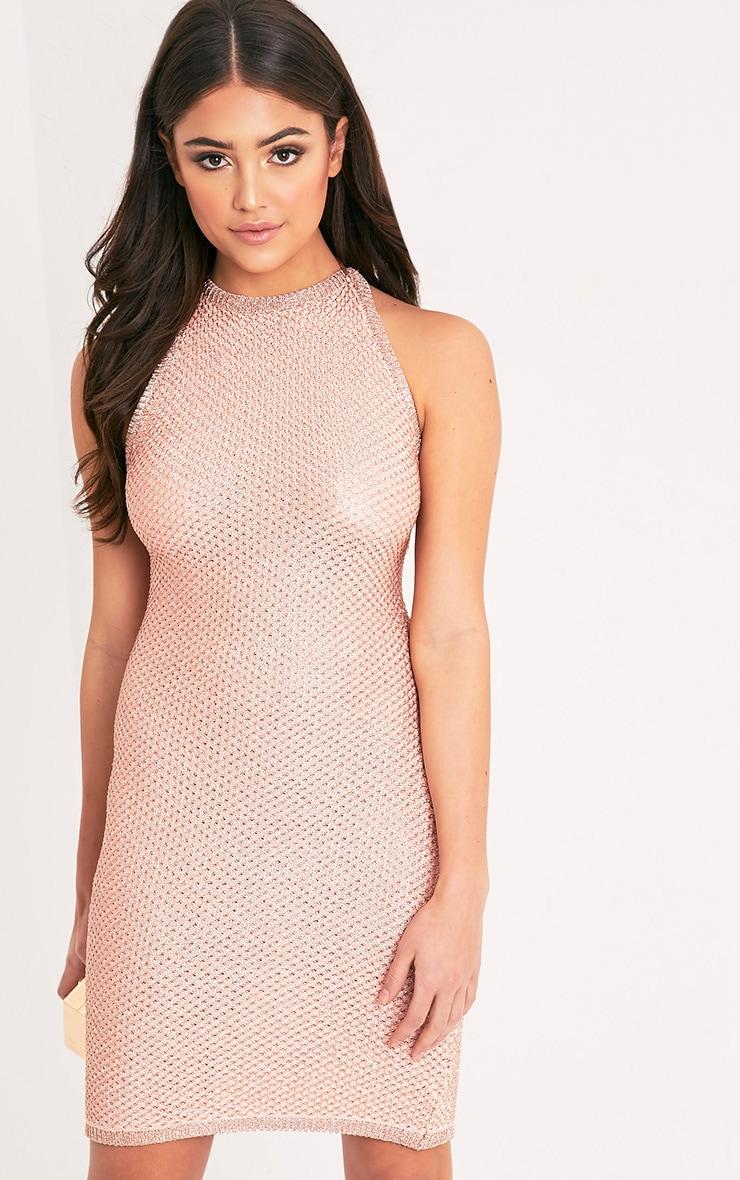 Peony robe mini dos nu or rose en tricot métallique 4