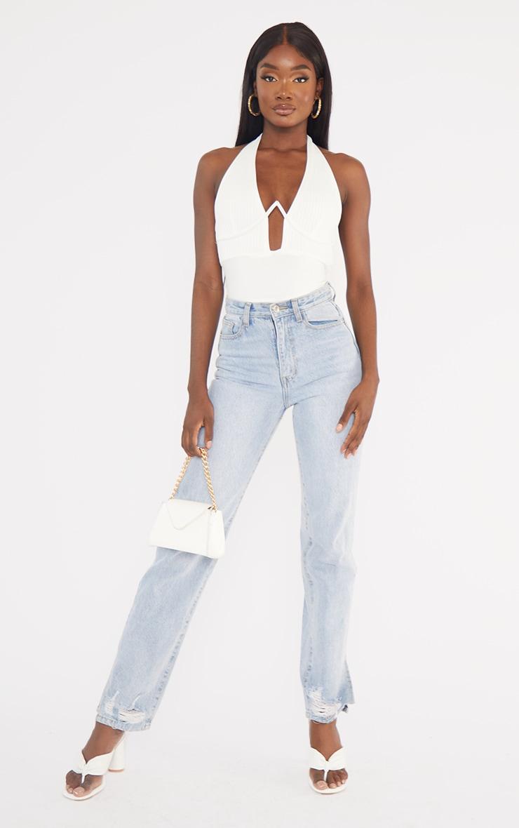 Tall Cream Bandage Rib V-Wire Halter neck Bodysuit 3