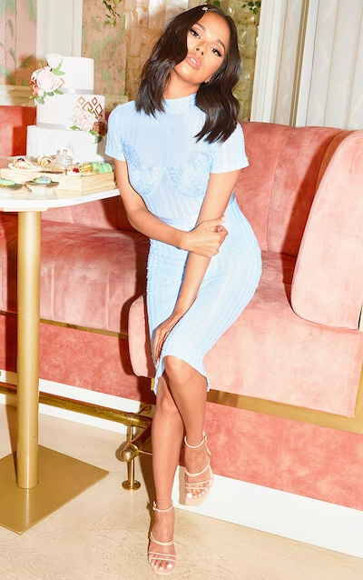 Dusty Blue High Neck Lace Lined Midi Dress