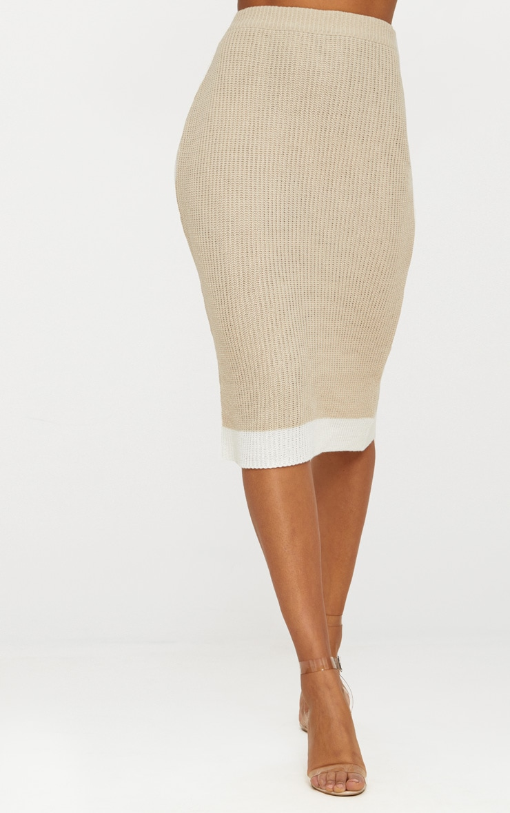Stone Contrast Knitted Midi Skirt 2