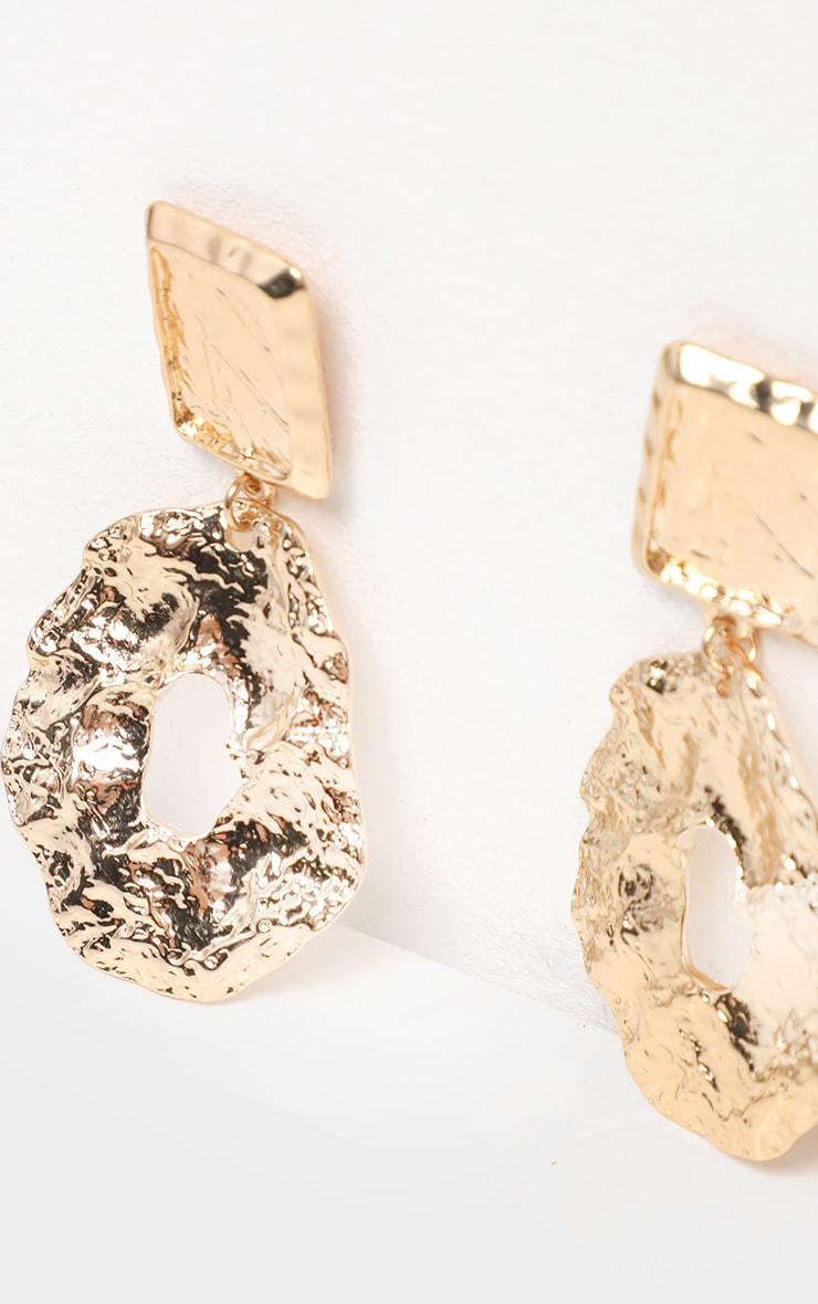 Gold Hammered Irregular Hoop Earring 2