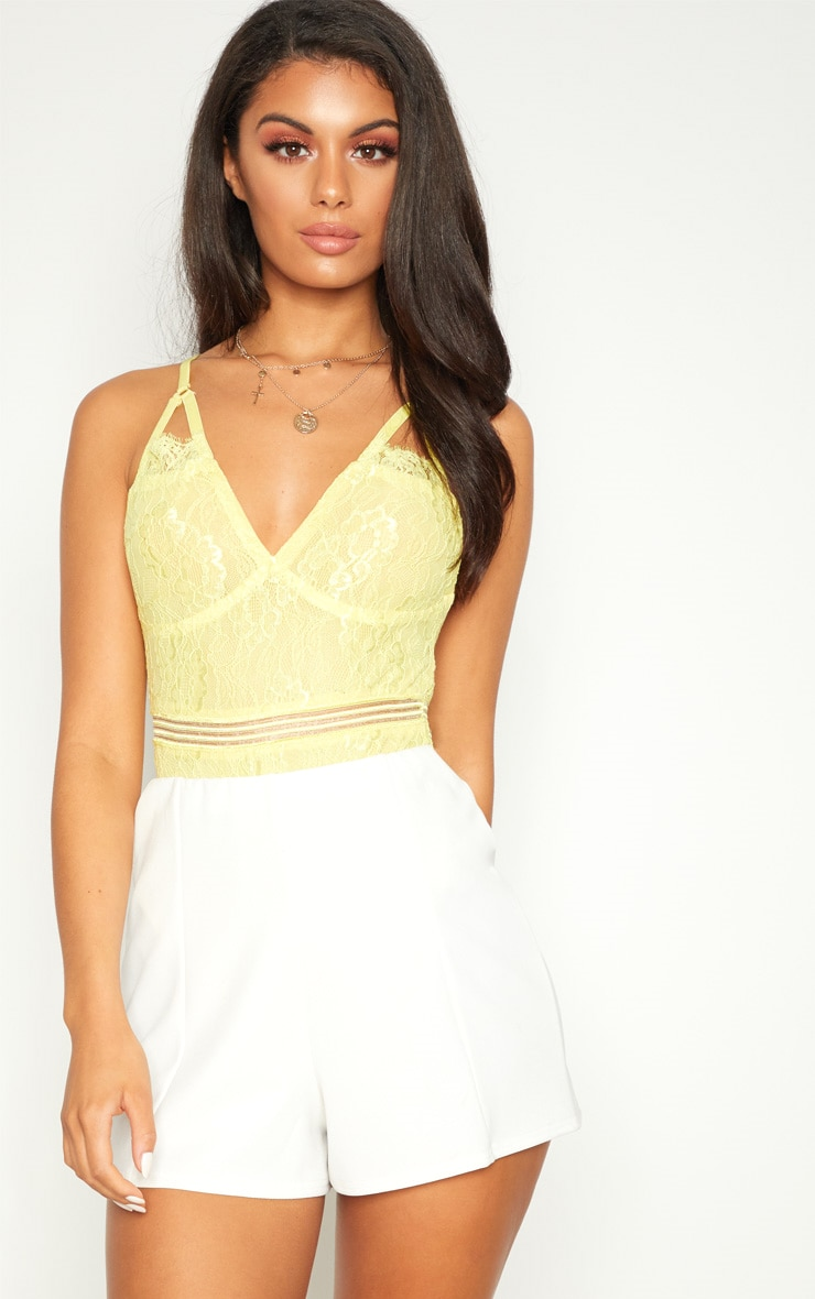 Lemon Cut Out Detail Lace Thong Bodysuit