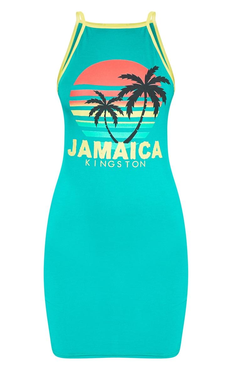 Green Jamaica Slogan High Neck Bodycon Dress 3