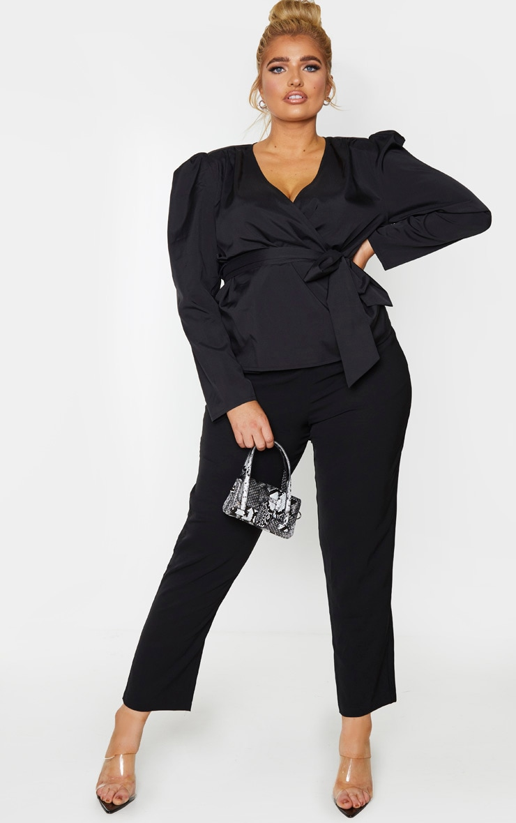 Plus Black Woven Plunge Puff Sleeved Blouse 1