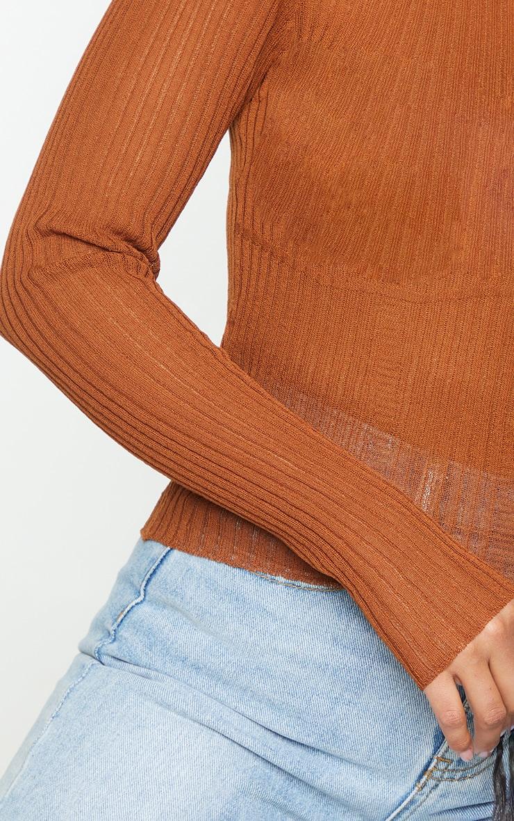 Tan Sheer Knitted Bust Detail Long Sleeve Top 4