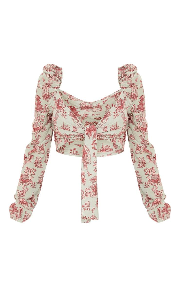 Burgundy Renaissance Printed Puff Long Sleeve Tie Crop Blouse 3