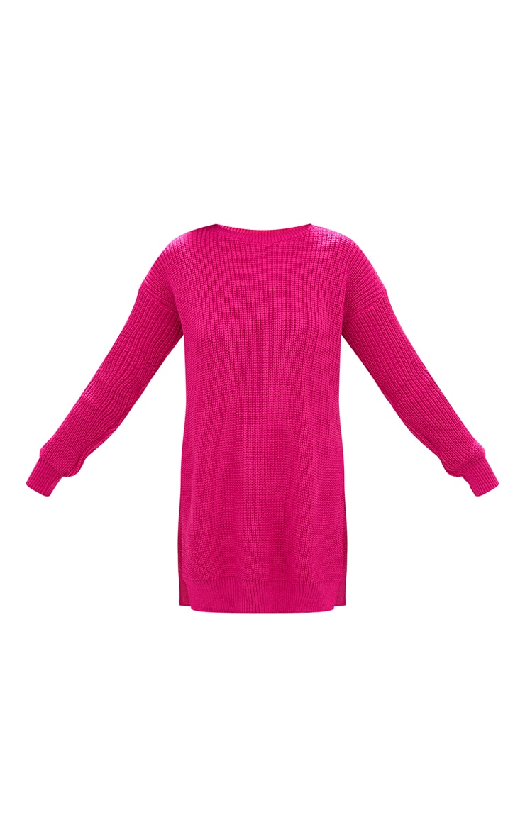 Pink Round Neck Side Split Jumper 3